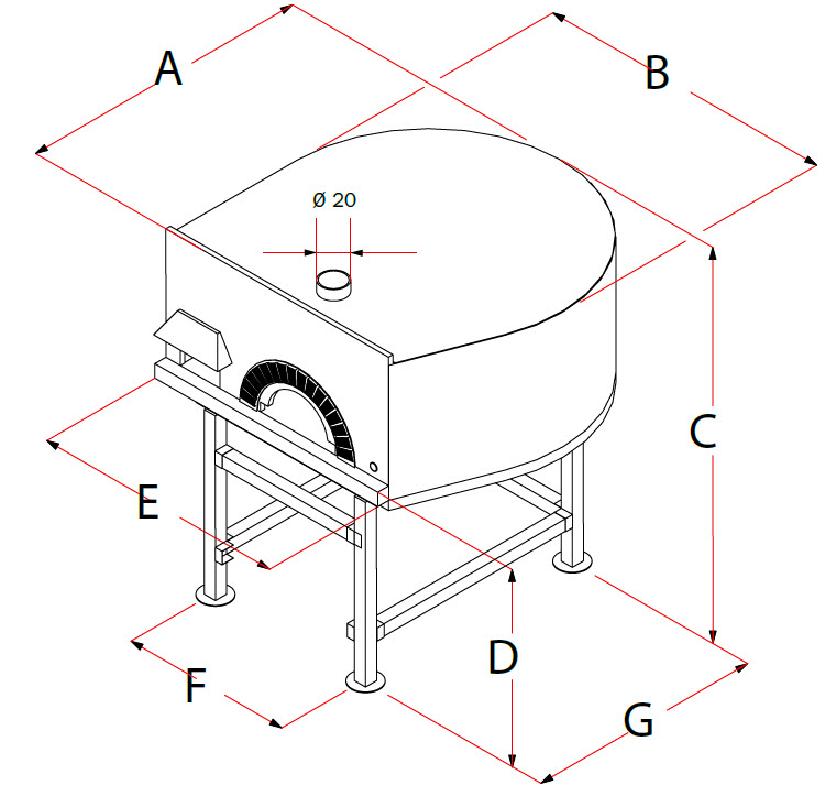 dimensions four a pizza rotatif 15 pizzas
