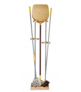 Support universel 3 places h. 150 cm. avec appui pose pelle en bois