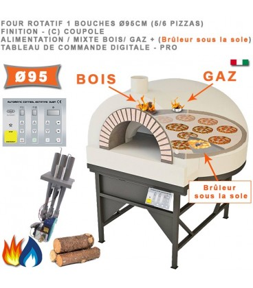 Four à pizza Rotatif une bouche à Bois, à Gaz ou Mixte Bois/Gaz