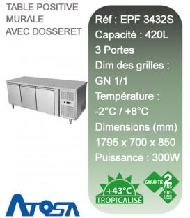 Table réfrigérée positive à 3 portes Atosa EPF3432-S