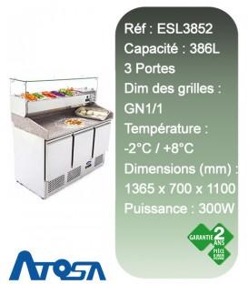 Meuble à pizza réfrigéré à 3 portes et saladette réfrigérée pour condiments ATOSA ESL3852