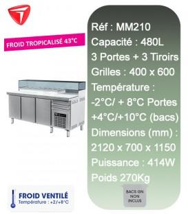 Table à Pizza 3 portes 3 tiroirs 600X400 9-BACS GN 1/4