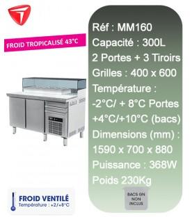 Table à Pizza 2 portes 3 tiroirs 600X400 6-BACS GN 1/4