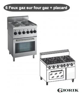 Fourneau 6 Feux gaz sur four gaz + Placard