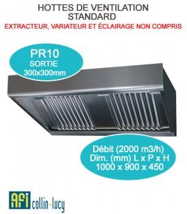 MC-PRO HOTTE DE VENTILATION MURAL COMBY DE 1260 À 2520 M3/H DE 1000 À 3000 MM DE LARGEUR