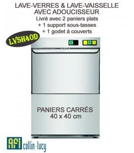 LAVE-VERRES ET COUVERTS AVEC ADOUCISSEUR ET PANIER CARRÉ DE 40 X 40 CM - EFI-LVSHD40D