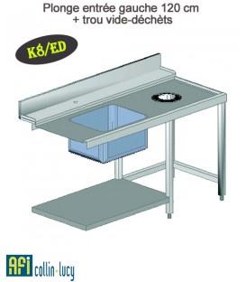Plonge entrée gauche 120 cm + trou vide-déchèts - K8/ED - EFI