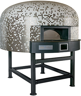 Four a pizza NAPOLI avec sole rotative 10/12 pizzas fonctionnant en mode hybride mixte bois/gaz